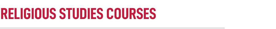 Religious Studies Courses