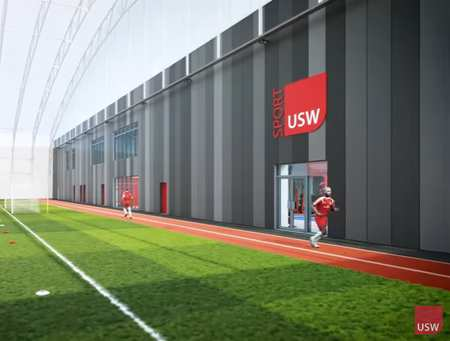 USW Sport Park indoor still, from video