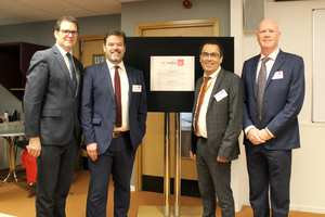 Lee Waters AM, Professor Dylan Jones-Evans, Richie Turner, and Professor Paul Harrison, Pro Vice-Chancellor at USW at the opening of Startup Stiwdio at USW's Cardiff Campus. Sept 2019